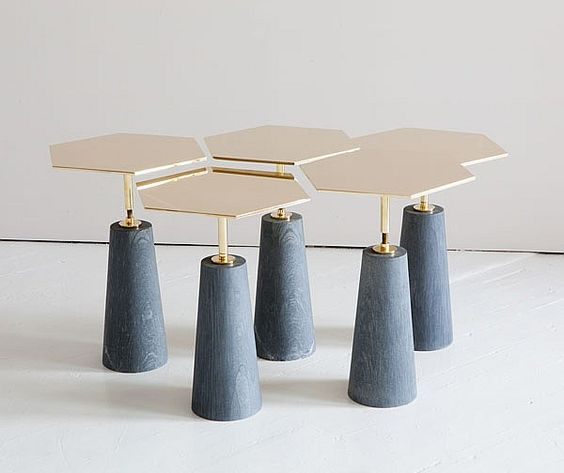 Interior Design Magazine: Hawley Tables by Egg collective can be used as a single or combined together.