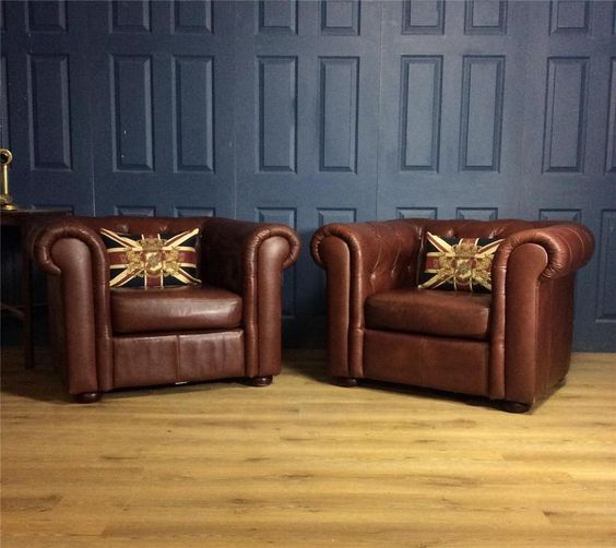 Pair Leather club chairs tan Queen Anne cigar antique deco Chesterfield brown in Home, Furniture & DIY, Furniture, Sofas, Armchairs & Suites | eBay