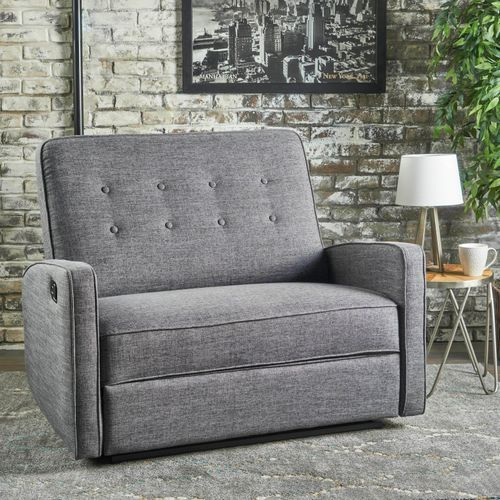 Gray Buttoned Reclining Loveseat Loveseat Recliners Love Seat Oversized Recliner