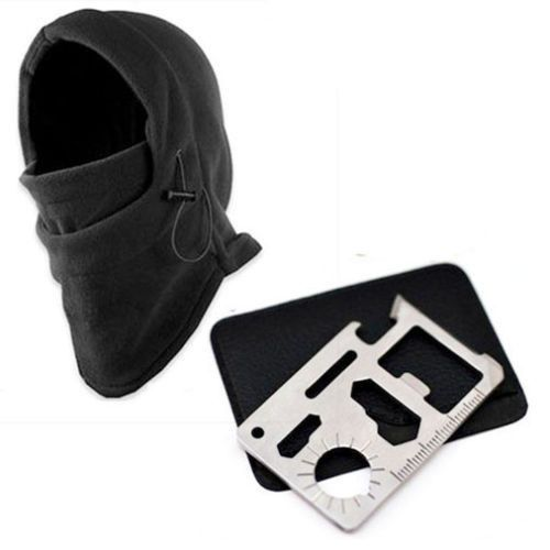 Outdoor hiking ski mask with 11-in-1 knife survival card