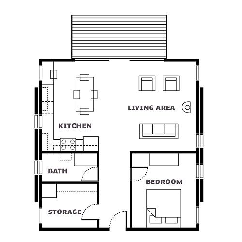 home floor plans by keeping the materials simple and the layout of the 860 square foot cabin