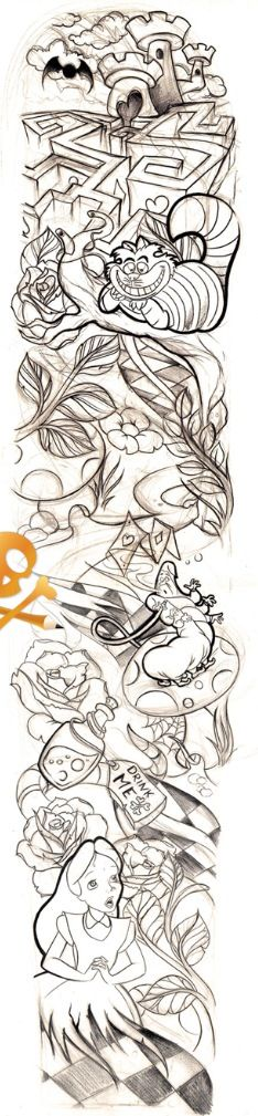 Line Drawing Tattoo Sleeve : Alice in wonderland sleeve tats pinterest maze