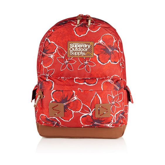 Superdry Botanical Montana Rucksack ($50) ❤ liked on Polyvore featuring bags, backpacks, red, top handle bag, day pack backpack, floral backpack, zipper bag and red backpack