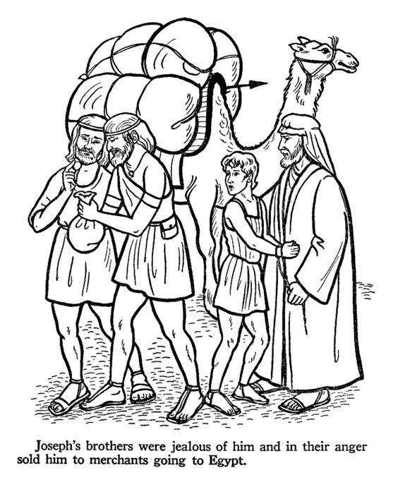 Joseph and the coat of many Colors Coloring Page Bible
