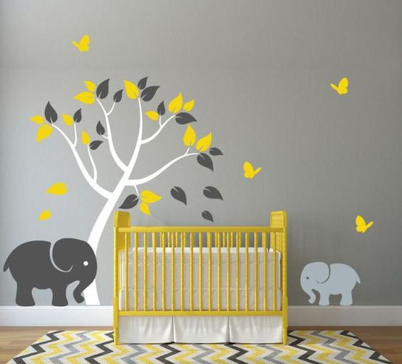 Nursery Wall Decal with Elephants, Colorful Tree, and Butterflies: