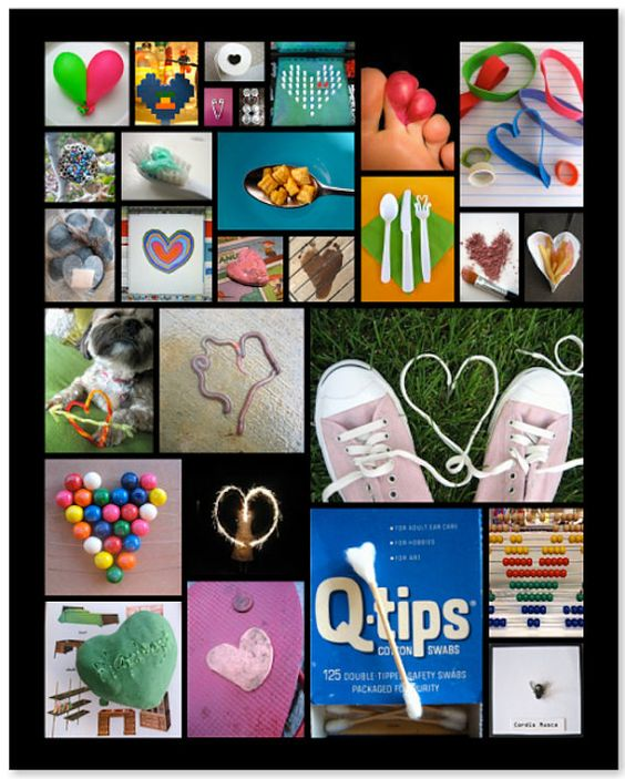 16 x 20 Fun Hearts Collage Poster in Black