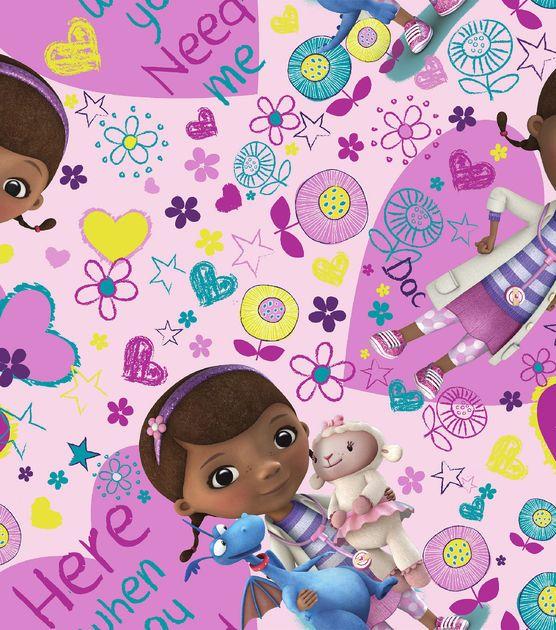 Disney Junior Doc Mcstuffins Here When You Need Me Cotton Fabric Disney Junior Cartoon Profile Pictures Fabric