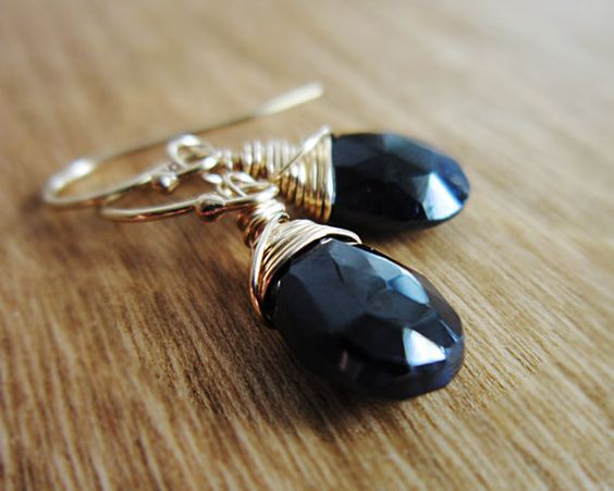 Black Spinel Earrings  14K Gold Fill wire by thelittlehappygoose, $32.00