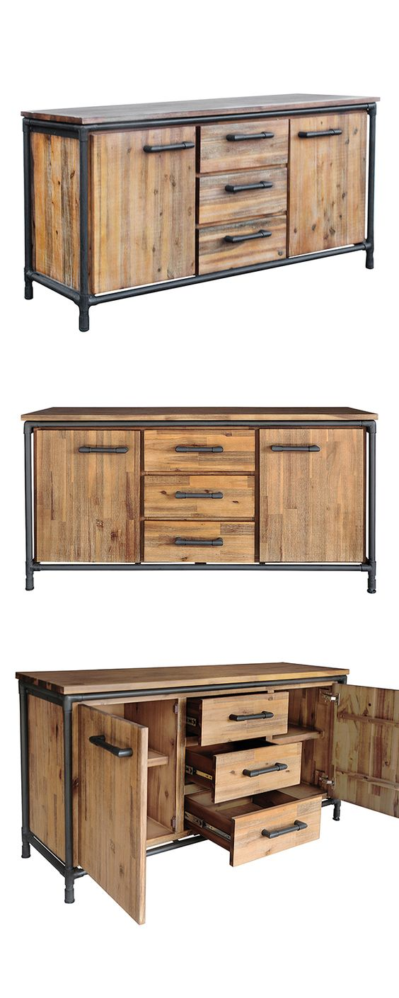 Add a touch of contemporary style to your dining room or kitchen with this handsome Mission Sideboard. Made from beautifully finished acacia solids, this charming buffet features industrial-style, blac...  Find the Mission Sideboard, as seen in the Industrial Chic Collection at http://dotandbo.com/collections/industrial-chic?utm_source=pinterest&utm_medium=organic&db_sku=117066