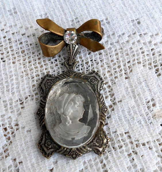 Antique Religious Relic Brooch with Glass Cameo