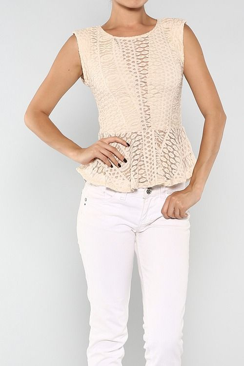 Lace Peplum Top #wholesale #summer #peplum #tank #fashion #clothing #ootd #wiwt #shopitrightnow #ruffles #tops
