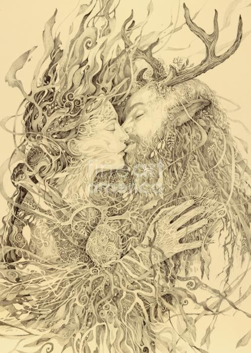 """Pagan romance."" I could not follow to a web page, but love this pic. Best I can do is post the place I found it. ""Monique Lee via Aoi. Repinned 13 weeks ago from Art."""