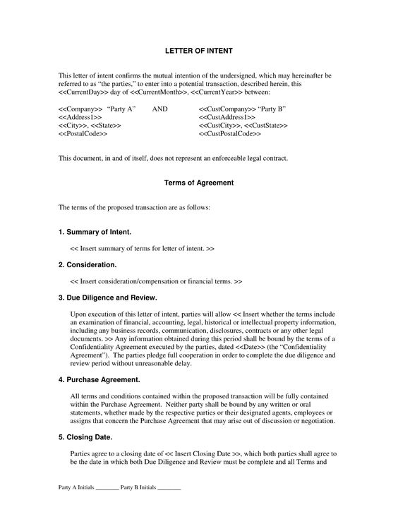 Letter of Intent Agreement - The Letter of Intent Agreement is - contract agreement between two parties