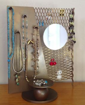 Jewelry stand from scrap parts of metal