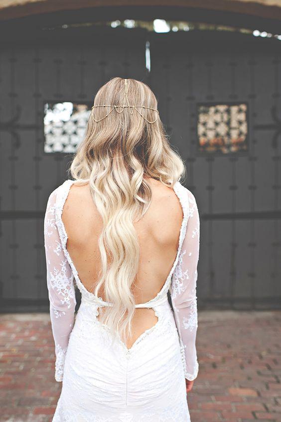 Super feminine lace sleeves wedding dress