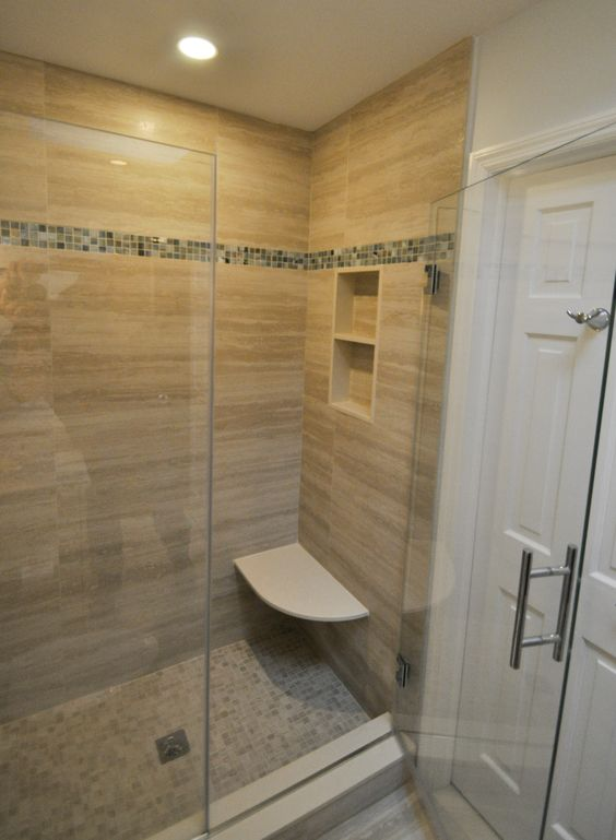Stand up shower with built in bench seat and niche bathrooms pinterest stand up showers for Standing shower bathroom ideas