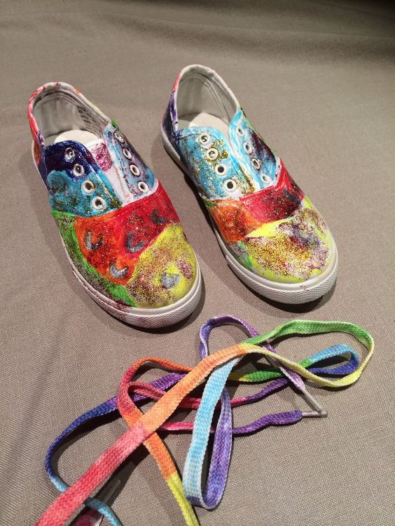 """Rainbow Shoes  Miss 6 wanted """"Let's get ridiculous shoes"""" she loves Red Foo."""