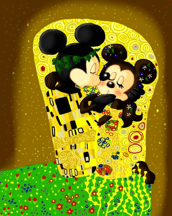 "Disney and Klimt // Mickey and Minnie ""The Kiss"" (Gustav Klimt art):"
