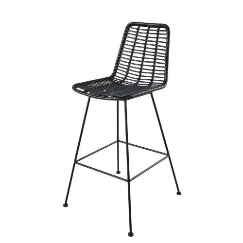 Chaise Haute De Jardin Professionnelle En Resine Noire Selva Business Maisons Du Monde En 2020 Chaise Haute Chaise Bar En Bois