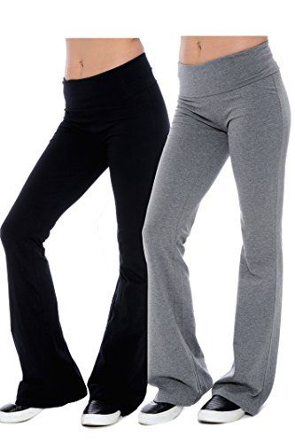 Fold-over Waistband Stretchy Cotton-blend Yoga Pants (Small-2Pack ...