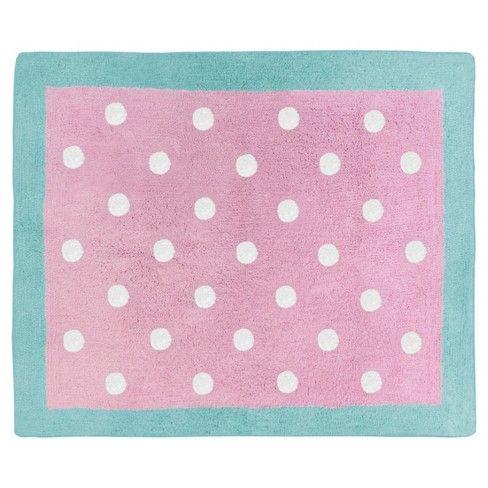 Turquoise Pink Polka Dot Rug 2 X3 Sweet Jojo Designs