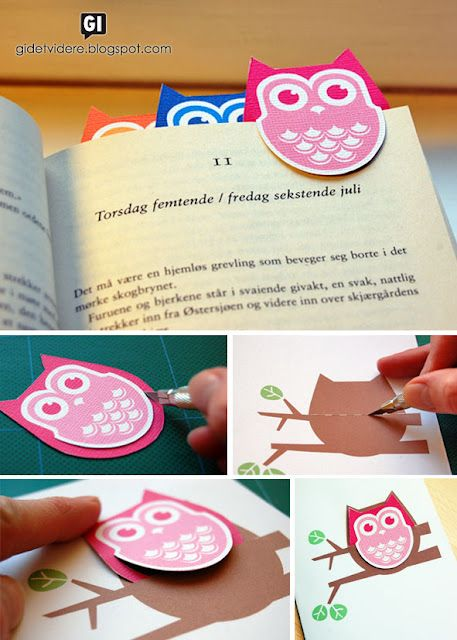 Free printable owl bookmarks + a presentation card for gift-giving. (The card makes it look like the owl is perched on a branch.) Love it!: