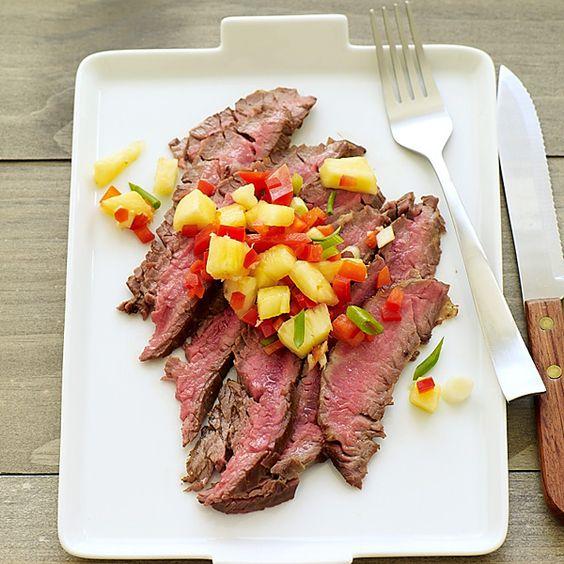 WeightWatchers.fr : recette Weight Watchers - Boeuf à l'asiatique et saladine d'ananas aux poivrons