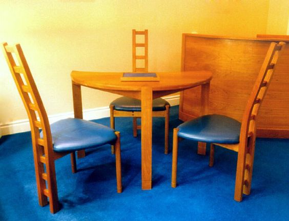 Handmade, Bespoke Furniture By Lee Sinclair Furniture Www.leesinclair.co.uk  Blue Leather Sest Ladder Back Cherry Chairs | Lee Sinclair Furniture |  Pinterest ...