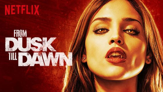 """""""From Dusk Till Dawn"""" - 1 Season (2014) :: Via New On Netflix UK    The horror and crime thriller genres collide in this new original series from Robert Rodriguez, based on his cult grindhouse classic about bank-robbing brothers on the run, a lawman bent on bringing them to justice, the devout family caught in the cross-fire, and an ancient evil eager to feast on them all. D.J. Cotrona and Zane Holtz star with Robert Patrick, Wilmer Valderrama, Eiza Gonzalez and Jake Busey."""