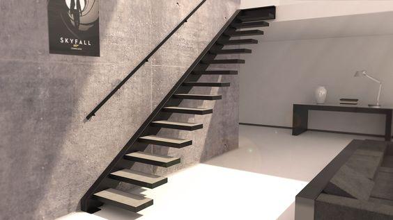Escalier suspendu avec marches bois et main courante escaliers pinterest - Main courante escalier ...