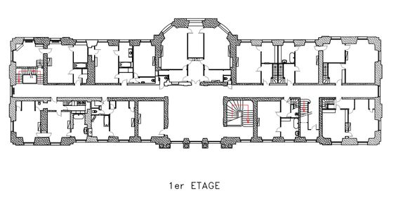 Chateau De Champlatreux First Floor Plan Architectural