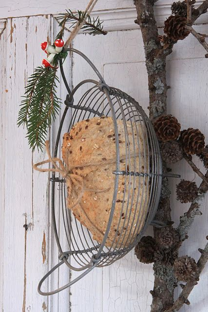 Bird Suet Feeder...I think I would just set it flat.  Makes it easier on the little birdy feet!  :-D