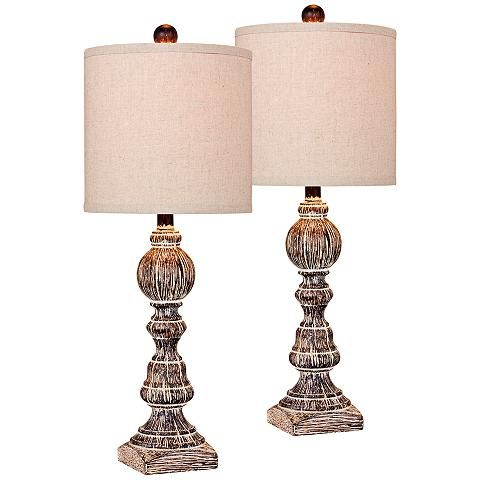 Mclaren Cottage Antique Brown Balustrade Table Lamp Set Of 2 37p74 Lamps Plus Lamp Sets Lamp Table Lamp Sets