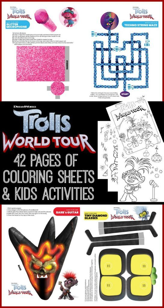 Free Trolls World Tour Coloring Sheets Kids Activities