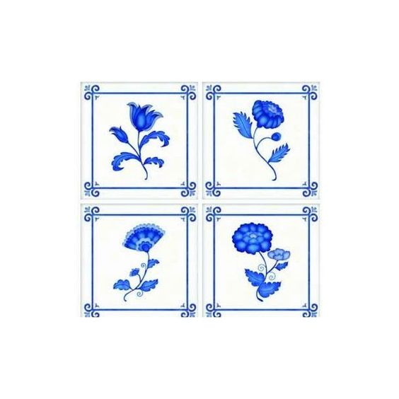 Amazon.com - Delft TileStix 4-Piece Peel and Stick Tile Décor - Wall... ($12) ❤ liked on Polyvore featuring home, home decor, wall art, 4 piece wall art and peel and stick wall art