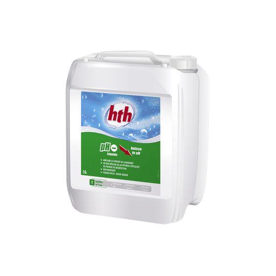 HTH pH Moins Liquide baisse le pH des eaux de piscines. Teneur moyenne en matière active élevée (54%)... http://www.c-piscine.com/ph-moins-ph-plus/333-hth-ph-moins-liquide-54-10l