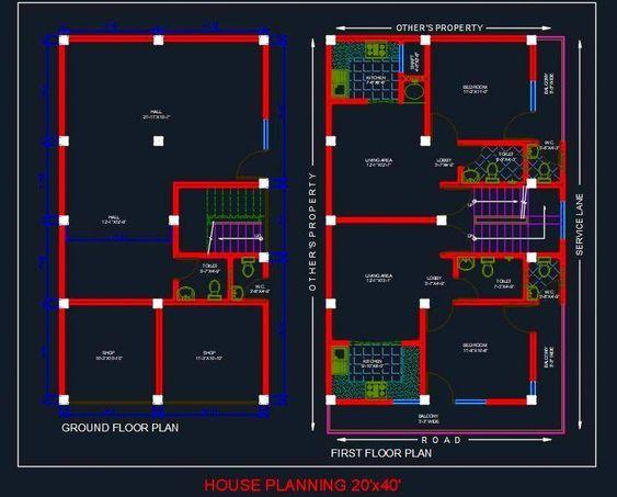 House Planning Floor Plan 20 X40 Autocad File 20x40 House Plans One Floor House Plans Simple Floor Plans Simple house plan autocad file