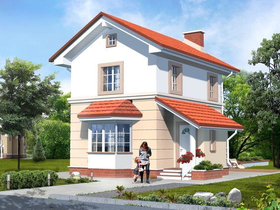 House plan by AkvilonPro: ''BORIS 2'' 73 sq.m  Two-storey house with a terrace