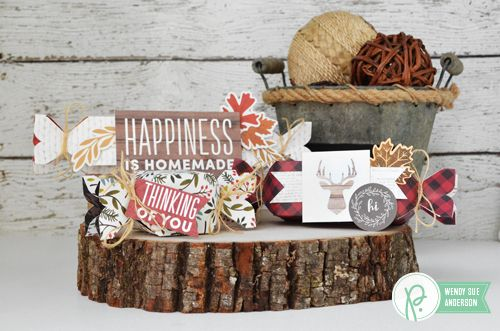 "Treat Boxes and Geometric Scraps Card by @wendysue with the ""Warm & Cozy"" collection by @pebblesinc:"