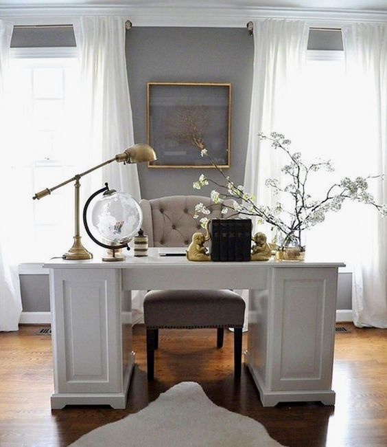 17 Small Home Office Interiordesignshome Com Way To Create A Surprisingly Stylish Home Office Furniture Design Small Home Office Furniture Home Office Design