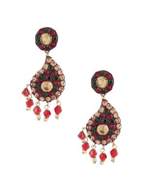 Glittering Red Lac Earrings | Rs. 330 | http://voylla.com