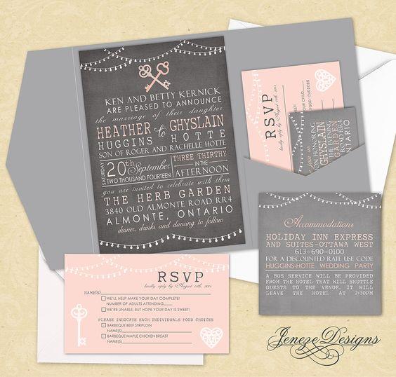 Pocket wedding invitation set.  Vintage style with light strings and vintage keys.  Grey, white and blush pink.  Designed by Jeneze Designs, www.jeneze.com.