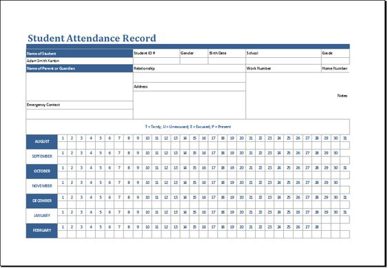 student attendance record template at    wwwxltemplatesorg - attendance allowance form