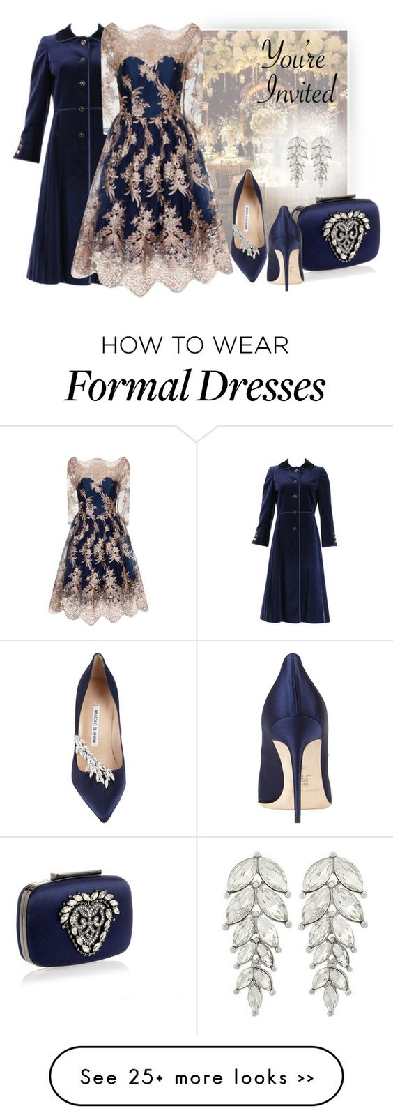 """""""Formal Affair"""" by shoppe23online on Polyvore featuring LOTTA, Louis Féraud, Manolo Blahnik, Chi Chi, CelebrityWedding and FabulousFashionAccessories"""