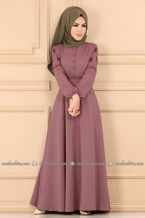 Modaselvim Elbise Kollari Ve Kemeri Nakisli Elbise 9300w153 Gul Kurusu Elbise Elbiseler Kiyafet