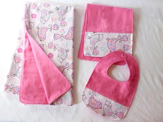 Bird Blanket Bib & Burp Cloth Bird Baby by SewingHappySmiles