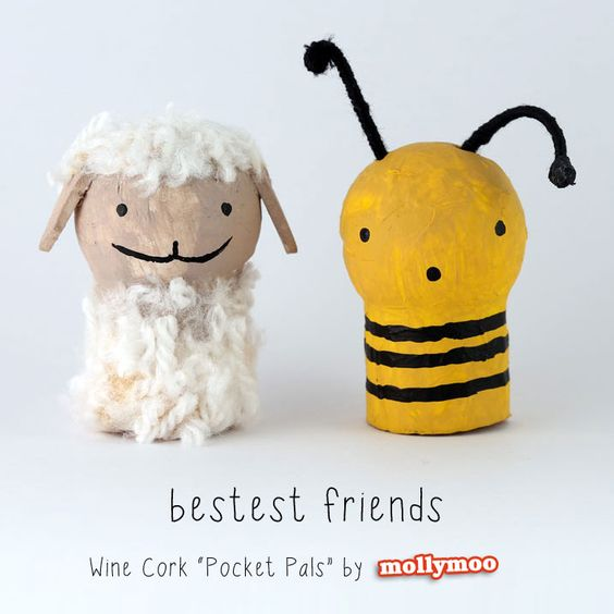 Wine Cork & Styrofoam Ball Animals, set of five (lamb, bee, fox, owl and frog) | MollyMoo