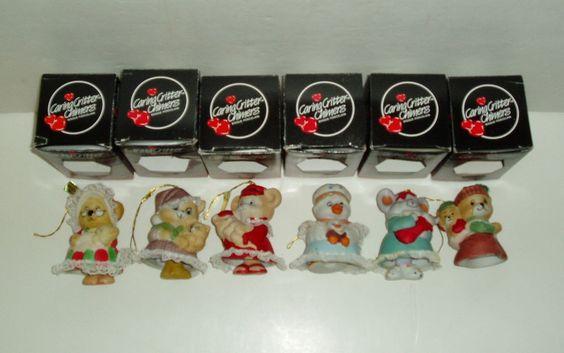 Lot 6 Vtg CARING CRITTER CHIMERS Bisque Porcelain Bell Figurines Jasco Christmas