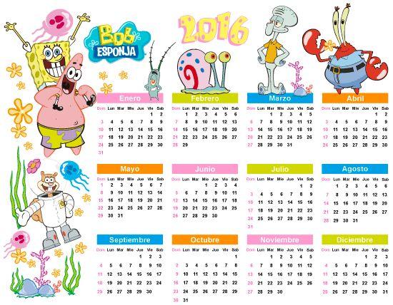 Calendario 2016 bob esponja documentos educativo for Clipart calendario