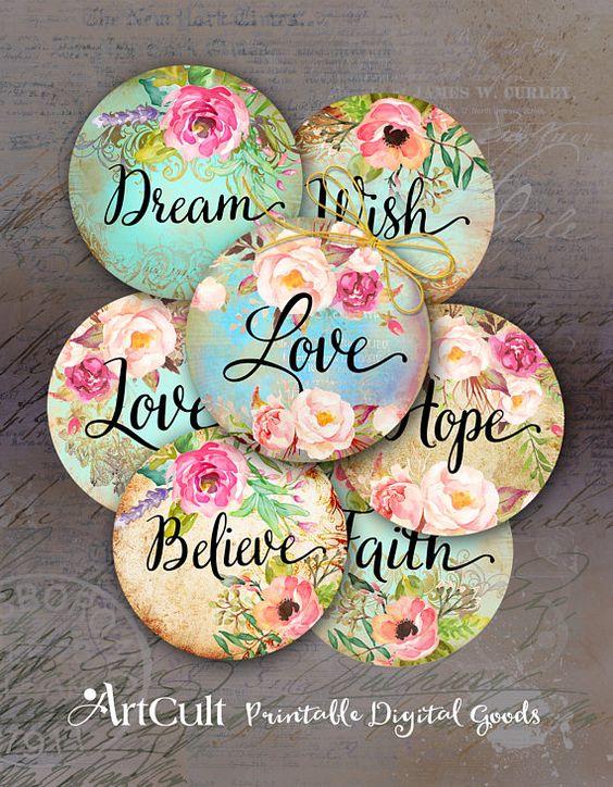 Imprimable Télécharger LOVE DREAM espère que 2 pouces taille cercle Images numériques Collage de feuilles pour les pendentifs, lunettes, plateaux pour cabochon, aimants ArtCult